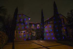 1 Red, 1 Blue & 1 Green Illuminator placed 20' away along driveway. Beams grouped for dramatic effect.
